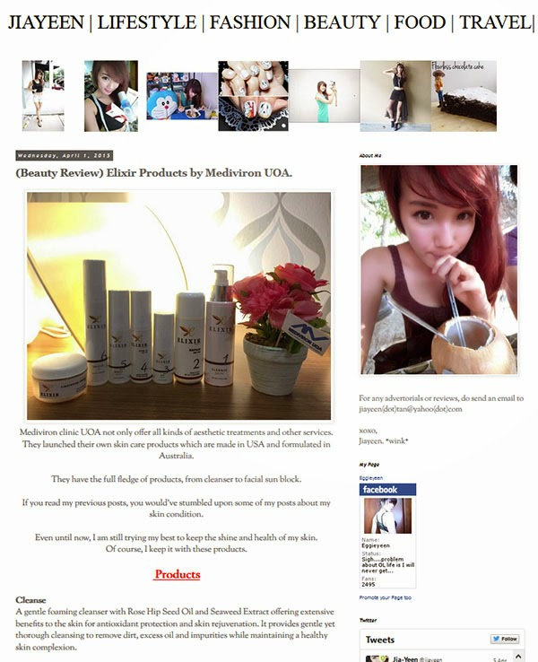 Elixir Products reviewed by Blogger, Jia Yeen